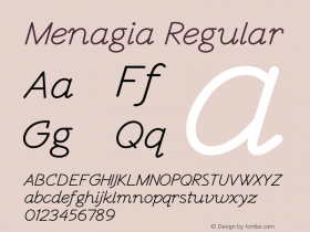 Menagia Regular Version 1.000图片样张