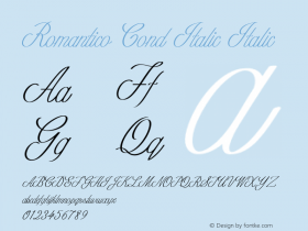 Romantico Cond Italic Italic Version 1.000图片样张