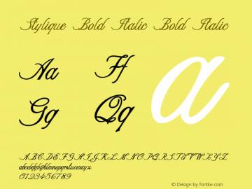 Stylique Bold Italic Bold Italic Version 1.000图片样张