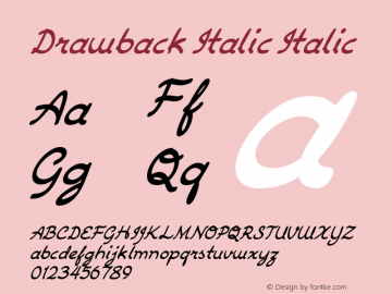 Drawback Italic Italic Version 1.000图片样张