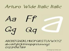 Arturo Wide Italic Italic Version 1.000图片样张