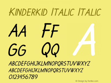 Kinderkid Italic Italic Version 1.000图片样张