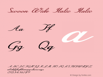 Swoon Wide Italic Italic Version 1.000图片样张
