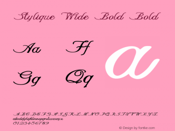 Stylique Wide Bold Bold Version 1.000图片样张