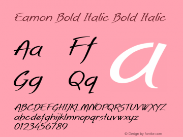 Eamon Bold Italic Bold Italic Version 1.500图片样张
