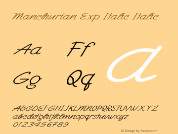 Manchurian Exp Italic Italic Version 1.000图片样张