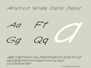 Ancron Wide Italic Italic Version 1.000图片样张