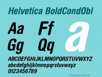 Helvetica BoldCondObl Version 001.000 Font Sample