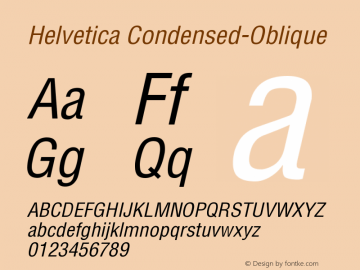 Helvetica Condensed-Oblique Version 001.003 Font Sample