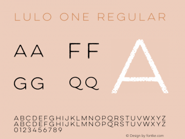 Lulo One Regular Version 1.000 Font Sample