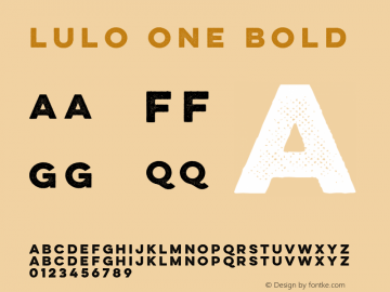 Lulo One Bold Version 1.000 Font Sample
