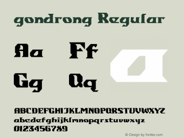 gondrong Regular Version 1.00 July 19, 2014, initial release图片样张
