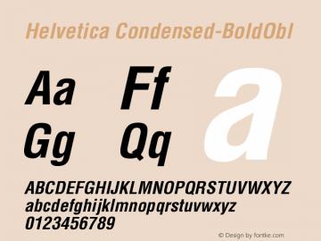 Helvetica Condensed-BoldObl Version 002.000 Font Sample
