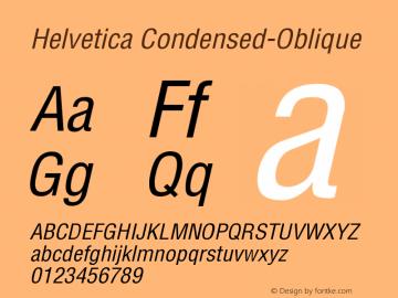 Helvetica Condensed-Oblique Version 002.000 Font Sample