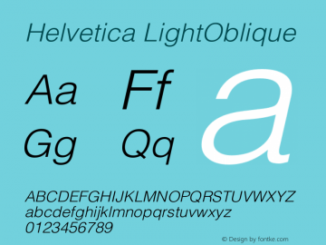 Helvetica LightOblique Version 001.003 Font Sample