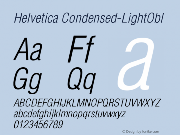 Helvetica Condensed-LightObl Version 002.000图片样张