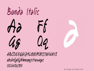 Bunda Italic Version 1.00 September 13, 2014, initial release图片样张