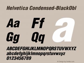 Helvetica Condensed-BlackObl Version 002.000 Font Sample
