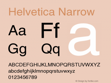 Helvetica Narrow Version 002.000 Font Sample