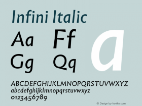 Infini Italic Version 1.003;PS 1.3;hotconv 1.0.72;makeotf.lib2.5.5900 Font Sample