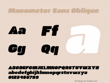 Manometer Sans Oblique Version 1.001 2014 Font Sample