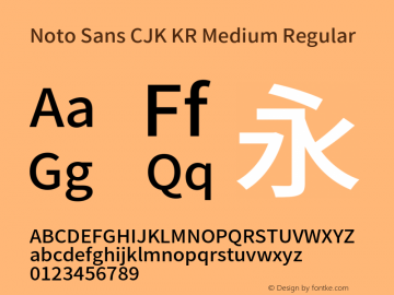 Noto Sans CJK KR Medium Regular Version 1.001;PS 1.001;hotconv 1.0.78;makeotf.lib2.5.61930 Font Sample