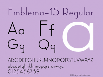 Emblema-15 Regular Version 1.000 2014 initial release;com.myfonts.easy.corradine.emblema.15.wfkit2.version.4cG2 Font Sample