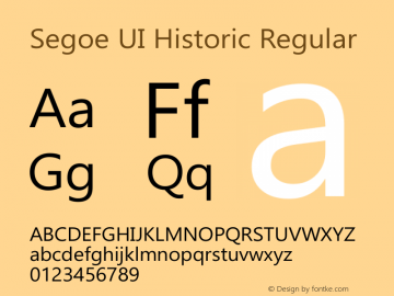 Segoe UI Historic Regular Version 0.90 Font Sample