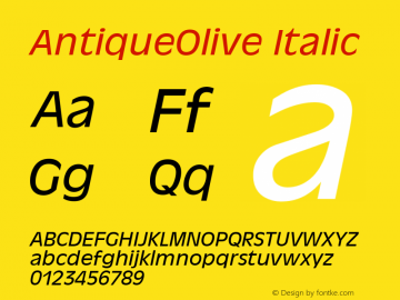 AntiqueOlive Italic Version 1.05 Font Sample
