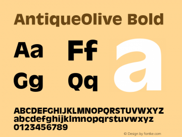 AntiqueOlive Bold Version 1.05 Font Sample