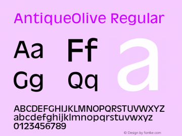 AntiqueOlive Regular Version 1.05 Font Sample
