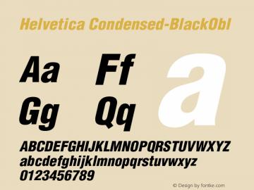 Helvetica Condensed-BlackObl Version 003.000 Font Sample