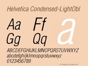 Helvetica Condensed-LightObl Version 003.000 Font Sample
