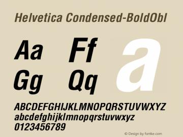 Helvetica Condensed-BoldObl Version 003.001 Font Sample