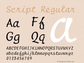 Script Regular Font Version 2.6; Converter Version 1.10 Font Sample