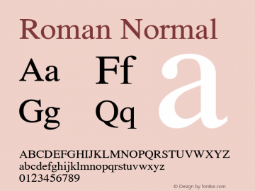 Roman Normal 1.000 Font Sample