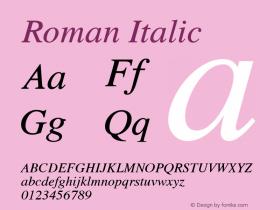 Roman Italic 1.000 Font Sample