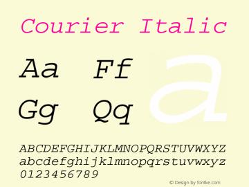 Courier Italic Version 1.3 (Hewlett-Packard) Font Sample