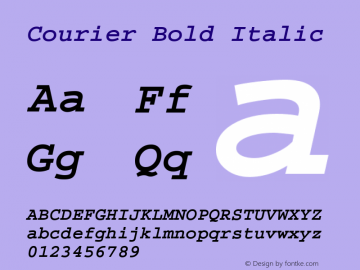 Courier Bold Italic Version 1.3 (Hewlett-Packard) Font Sample