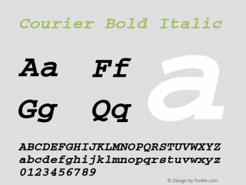 Courier Bold Italic 1998; 1.2 Font Sample