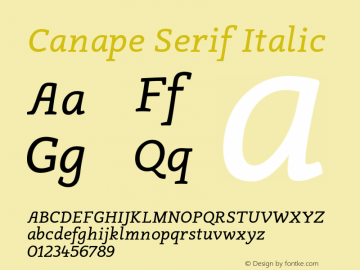 Canape Serif Italic Version 1.000 Font Sample