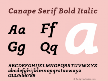 Canape Serif Bold Italic Version 1.000 Font Sample
