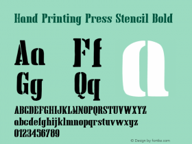 Hand Printing Press Stencil Bold Version 1.00 January 8, 2013, initial release;com.myfonts.fontscafe.hand-printing-press.stencil-bold.wfkit2.426C图片样张
