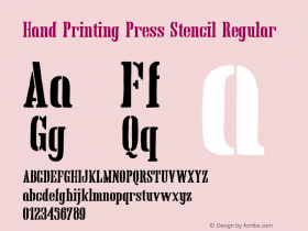 Hand Printing Press Stencil Regular Version 1.00 January 8, 2013, initial release;com.myfonts.easy.fontscafe.hand-printing-press.stencil.wfkit2.version.426u图片样张