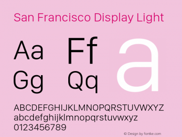 San Francisco Display Light 10.0d46e1 Font Sample