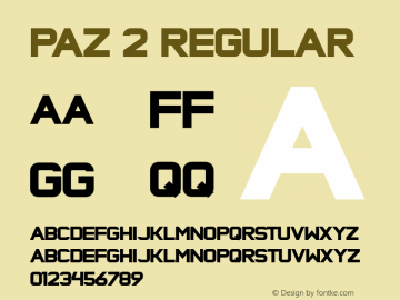 Paz 2 Regular Version 1.000;com.myfonts.sudtipos.paz.black.wfkit2.3aMT图片样张