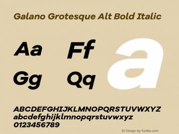 Galano Grotesque Alt Bold Italic Version 1.000 Font Sample