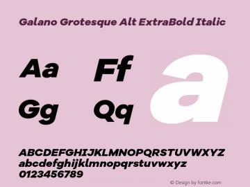 Galano Grotesque Alt ExtraBold Italic Version 1.000 Font Sample