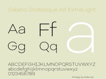 Galano Grotesque Alt ExtraLight Version 1.000 Font Sample