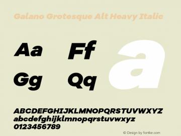 Galano Grotesque Alt Heavy Italic Version 1.000 Font Sample